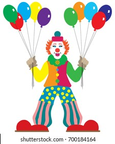 Flat Vector Clown with balloons