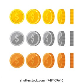 Flat vector coins with dollar symbol icons at different angles for animation. Coin spin for games and app