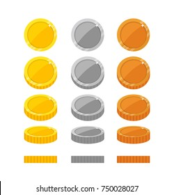 Flat vector coins rotation frames for web, game or app interface. Golden, silver and bronze money icons