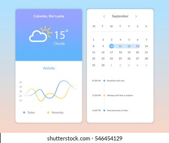 Flat vector collection of modern mobile phones with different user interface elements. UI Elements, Weather Application User Interface Concept, Graph interface, Calendar
