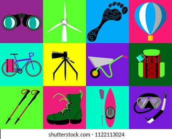 Flat vector color iconset for ecotourism sites. Main ecotourism types and notions emblems.