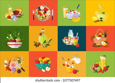 Flat vector compositions with food and drinks. Healthy eating. Delicious breakfast. Fresh vegetables and fruits