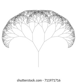 Flat Vector Computer Generated   L-system Fractal Tree - Generative Art