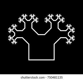 Flat Vector Computer Generated  L-system Branching Fractal - Pythagorean Tree - Generative Art