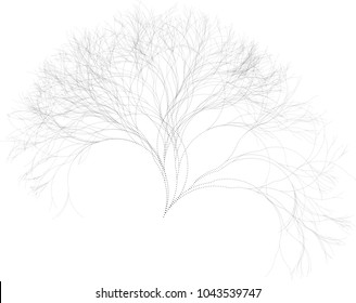 Flat Vector Computer Generated Self-Similar L-system Branching Tree Fractal  - Dotted Generative Art