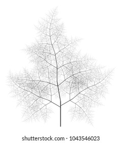 Flat Vector Computer Generated Self-Similar L-system Branching Tree Fractal  - Generative Art