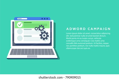 Flat vector concept for Adword campaign, Search marketing, PPC advertising banner with icons and texts. Digital PR vector concept with flat illustration for presentations and reports