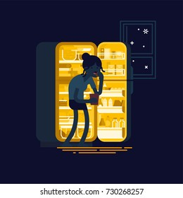 Flat vector concept illustration on eating disorder featuring female character standing in front of opened fridge eating food at night. Cartoon silhouette of woman with night eating syndrome