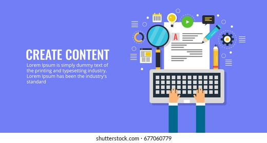 Flat vector for content creation, development, and research. Writing digital content for Internet banner illustration with icons isolated on dark background