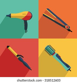 Flat vector cosmetics icons set of hair styling tools for website in pastel colors with long shadow. Hairdryer, curler, straightener, hairdryer brush. Beauty products concept.