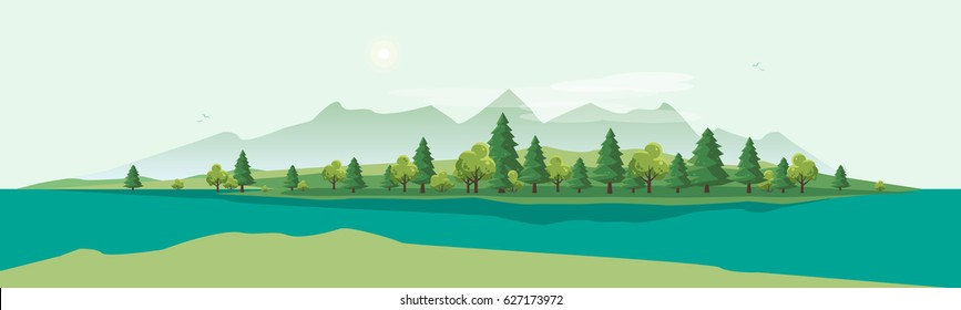 Flat vector countryside cartoon style illustration of nature landscape with trees and mountain above river.