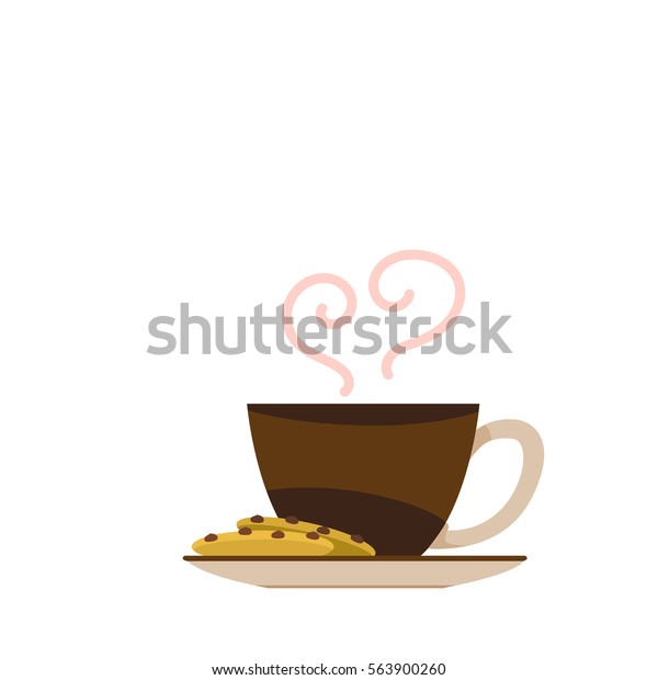 Flat vector of a cup of coffee and cookie chocolate chip.