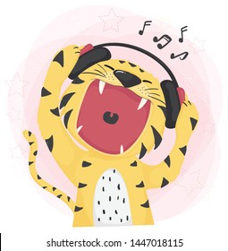 flat vector cute tiger open wild mouth listening to music and singing , idea for childhood printable tee or clothing