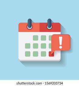 Flat vector deadline calendar Icon, event notification
