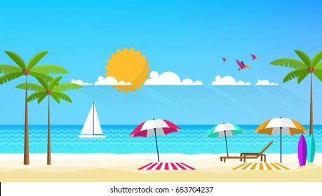 Flat Vector Design of Beach Landscape.