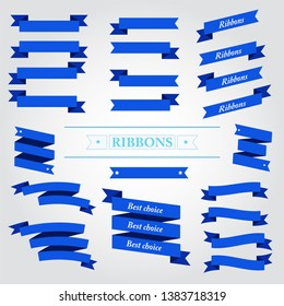 Flat vector design blue ribbons set  on white background