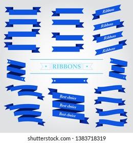 Flat vector design blue ribbons set  on white background