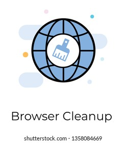 Flat vector design of browser cleanup icon