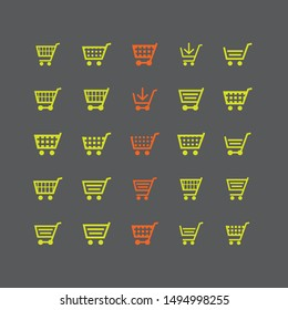 Flat vector design cart and trolley icon collection