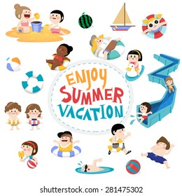 Flat vector design element and children for summer season. kids playing on the beach and swimming in the pool. Lettering Enjoy summer.