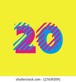 Flat Vector Design Element. Line art icon for New Year: 2020