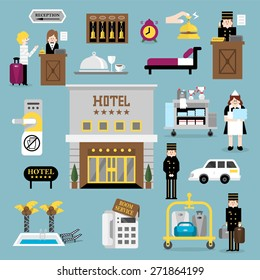 Flat vector design elements of hotel service set-reception, reservation, morning call,  cleaning,concierge and shuttle bus for web and mobile application.