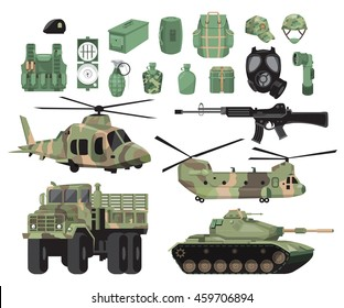 Flat vector design elements of military vehicles with a tank, a helicopter and a truck and supplies.