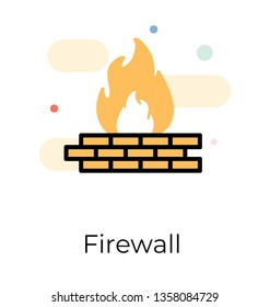 Flat vector design of firewall icon.