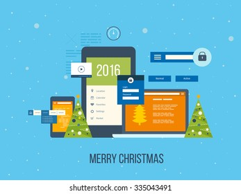 Flat vector design illustration concept for project management and application development. Merry Christmas greeting card design.