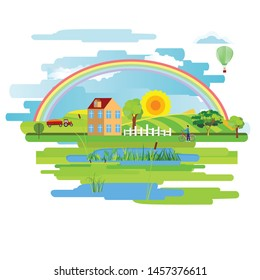 Flat vector design of town with houses on a meadow, rainbow. Summer rural landscape.