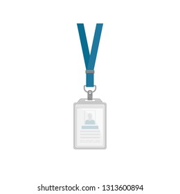 Flat vector design of vertical plastic holder with ID card Template of identification badge with blue neck strap