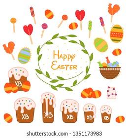 Flat vector easter illustration set for web design. Isolated color symbol set. Easter day background. Flat vector collection.