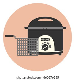 Flat vector electric home fryer icon, chip pan, kitchen appliance, deep frying machine