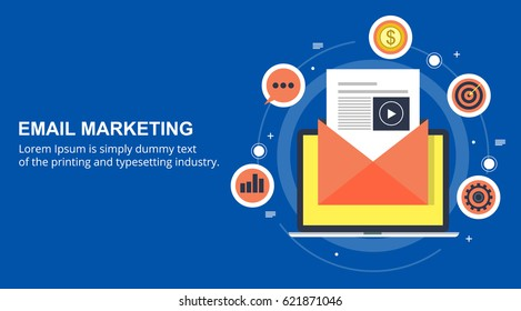 Flat vector for email marketing, newsletter marketing, email subscription and drip campaign with icons on blue background