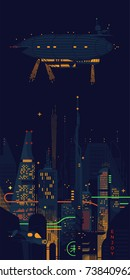 Flat vector fantastic abstract dystopian noir megalopolis landscape with gigantic skyscrapers, structures, neon lights and other sci-fi elements. Science Fiction dark futuristic cityscape