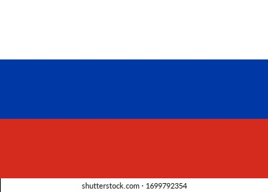 Flat vector flag of the Russian Federation. The aspect ratio of the flag is 2: 3.
