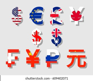 Flat vector with flag and shadow currency symbols icon set of USA, Canada, Australia, Britain, EU, Russia, China, Japan