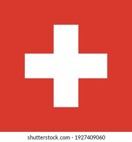 Flat vector flag of the Swiss Confederation (Switzerland). The aspect ratio of the flag is 1:1. A red square canvas with a white cross in the middle.