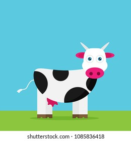 Flat vector funny cow
