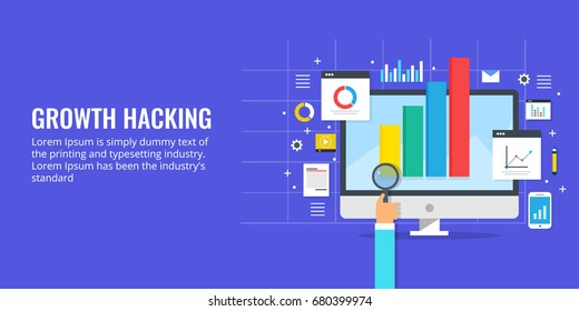 Flat vector for Growth hacking concept, business development with modern technology banner with icons