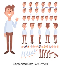 Flat Vector Guy character for your scenes. Character creation set with various views, face emotions, lip sync and poses. Parts of body template for design work and animation.