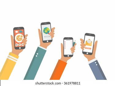 Flat Vector Hands with Phones. Stylized Icons for Mobile Applications. Hands with Phones concept, Hands with Phones mock up for your flyer and presentation for business and work, search delivery hand