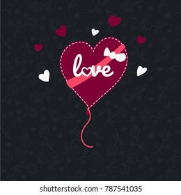 Flat vector heart balloon with love text and little hearts around on  seamless pattern background. with randomly placed roses on dark background with little hearts
