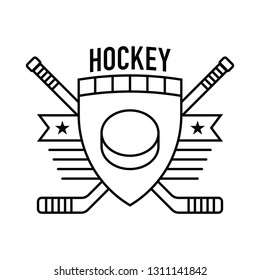 A flat vector hockey crest featuring a simple hockey puck icon in the middle.