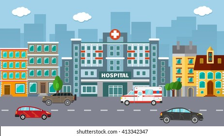 Flat vector hospital with cars and city