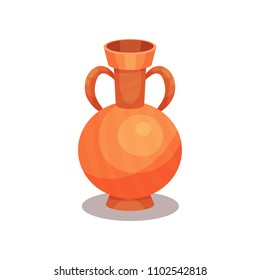 Flat vector icon of ancient amphora with two handles and narrow neck. Tall ceramic jug for wine. Old Greek or Roman vase