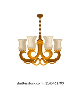 Flat vector icon of antique golden chandelier. Decorative hanging light with four branches for light bulbs