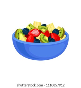 Flat vector icon of appetizing fruit salad. Sliced kiwi and pineapple, juicy strawberry and blueberry in blue ceramic bowl