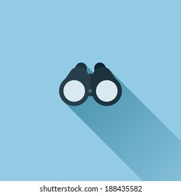 Flat vector icon of binoculars