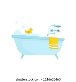 Flat vector icon of blue bath with soap foam, rubber duck, bright yellow towel, faucet with cold and hot water handles. Bathroom items